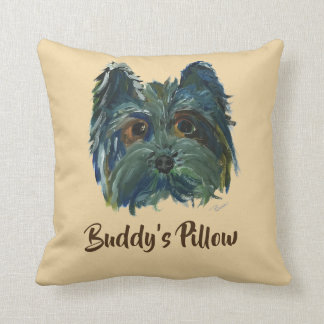 Cute Dog Yorkie Pop Art Painting in Blue and Green Throw Pillow