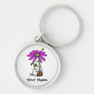 Cute Doggy With Flower Umbrella Silver-Colored Round Keychain