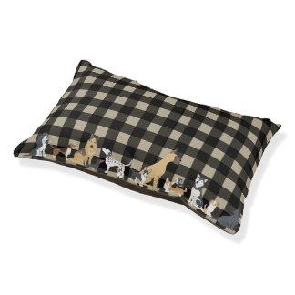 Cute Dogs Buffalo Check Lumberjack Plaid Pattern Pet Bed
