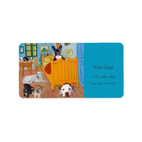 Cute Dogs in Van Gogh's Bedroom v1 Label