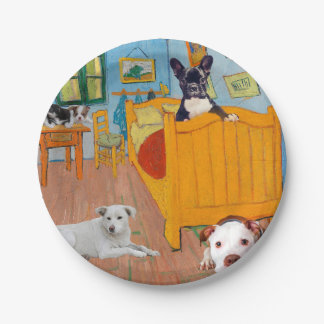 Cute Dogs in Van Goug's Bedroom v3 Paper Plate