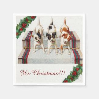 "Cute Dog's ""It's Christmas"" Napkin"