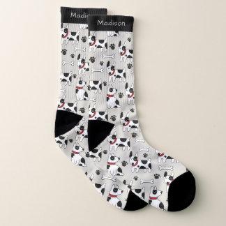 Cute Dogs Pattern custom name socks