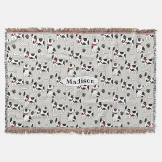 Cute Dogs Pattern custom name throw blanket