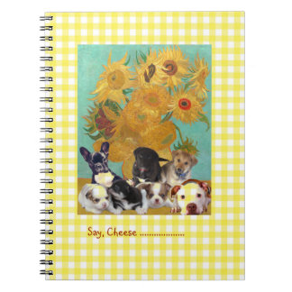 Cute Dogs with Van Gogh's Sunflowers Spiral Notebook