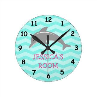 Cute dolphin and chevron kids nursery wall clock