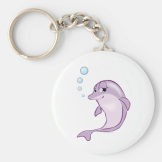 Cute Dolphin Basic Round Button Keychain