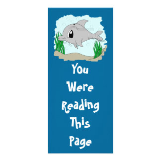 Cute Dolphin Bookmark Template Rack Card
