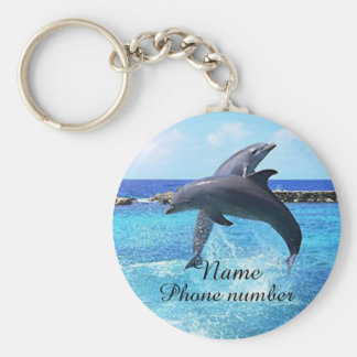 Cute dolphins in the sea keychain