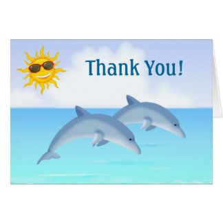 Cute Dolphins Ocean Beach Thank You Card
