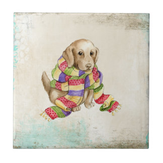 Cute domestic canine dog with a scarf. tiles