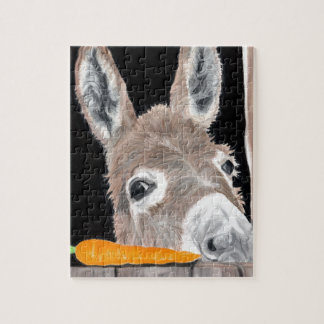Cute Donkey and a Carrot Jigsaw Puzzle