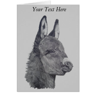 Cute donkey drawing realist animal art design card