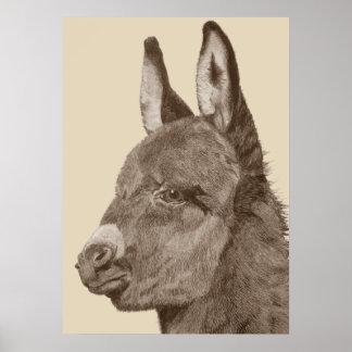 Cute donkey original life like drawing art poster