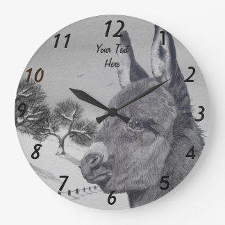 Cute donkey portrait art animal snow scene large clock
