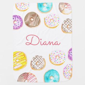 Cute donut name baby blanket