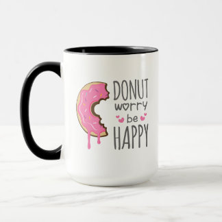 Cute Donut Worry Be Happy Mug Foodies