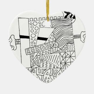 Cute Doodle Creature Ceramic Heart Ornament