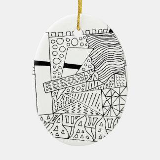 Cute Doodle Creature Ceramic Oval Ornament