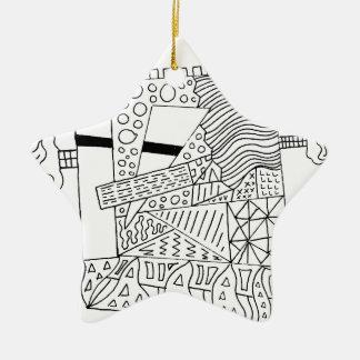Cute Doodle Creature Ceramic Star Ornament