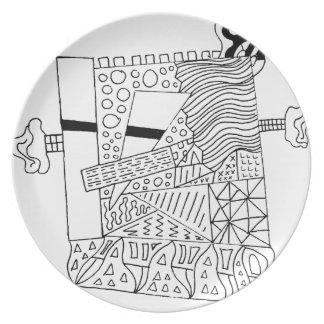 Cute Doodle Creature Plate