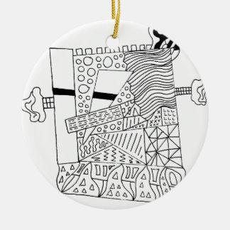 Cute Doodle Creature Round Ceramic Ornament