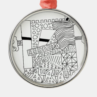 Cute Doodle Creature Silver-Colored Round Ornament
