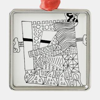 Cute Doodle Creature Silver-Colored Square Ornament