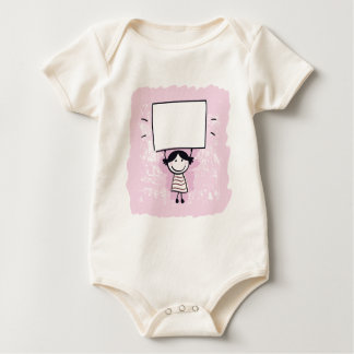 Cute doodle girl with design Board Baby Bodysuit