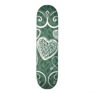 Cute Doodle Hearts and Flourish Pattern Skateboard Deck