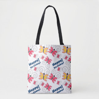 Cute doodle kid's drawings butterflies design. tote bag