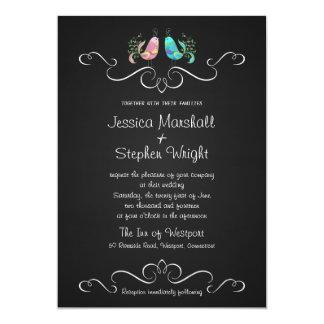 Cute Doodle Lovebirds Chalkboard Wedding Card