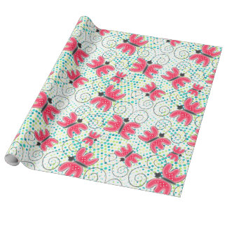 Cute doodle pink batterflies design, wrapping paper