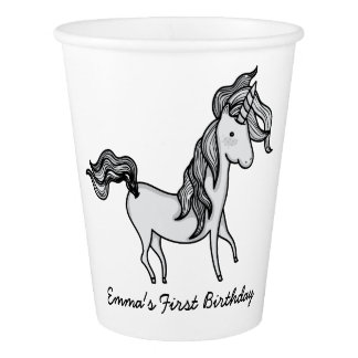 Cute Doodle Unicorn Paper Cup