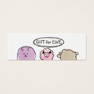 Cute doodle watercolor sheep knitting crochet mini business card