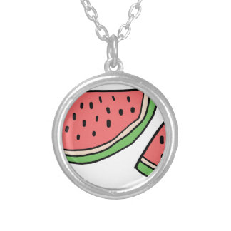 CUTE DOODLE WATERMELON SILVER PLATED NECKLACE