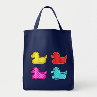 Cute Dotty Colorful Ducks Tote Bag