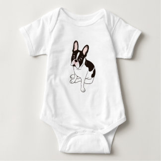 Cute double hooded pied French Bulldog Baby Bodysuit