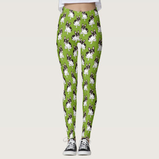 Cute double hooded pied French Bulldog Leggings