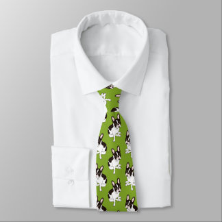 Cute double hooded pied French Bulldog Tie