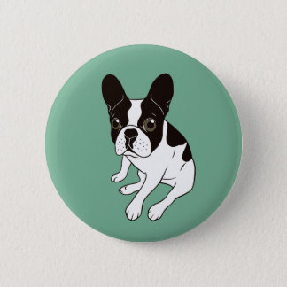 Cute double hooded pied Frenchie is chilling 2 Inch Round Button