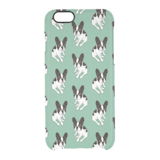 Cute double hooded pied Frenchie is chilling Clear iPhone 6/6S Case