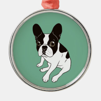 Cute double hooded pied Frenchie is chilling Metal Ornament