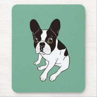 Cute double hooded pied Frenchie is chilling Mouse Pad