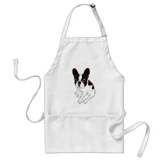 Cute double hooded pied Frenchie is chilling Standard Apron
