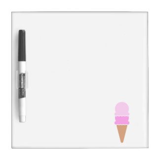 Cute Double Scoop Pink Ice Cream Cone Dry Erase Board