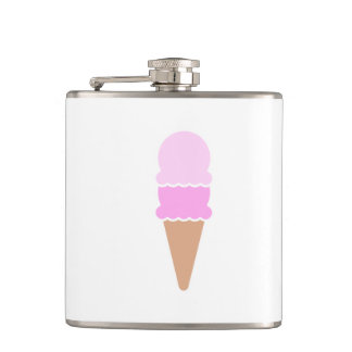 Cute Double Scoop Pink Ice Cream Cone Hip Flask