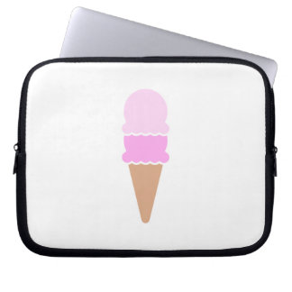 Cute Double Scoop Pink Ice Cream Cone Laptop Sleeve