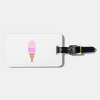 Cute Double Scoop Pink Ice Cream Cone Luggage Tag