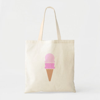 Cute Double Scoop Pink Ice Cream Cone Tote Bag